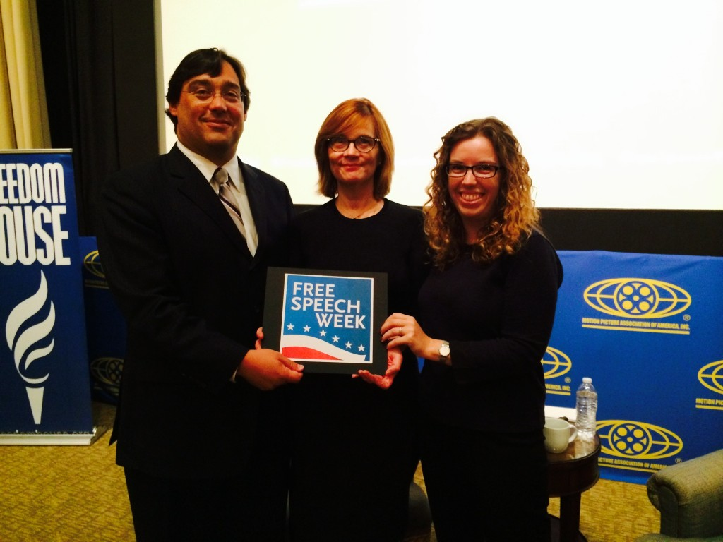Neil Fried, Senior V.P. Government and Regulatory Affairs, MPAA, with Washington Post's film critic Anne Hornaday and culture blogger Alyssa Rosenberg.