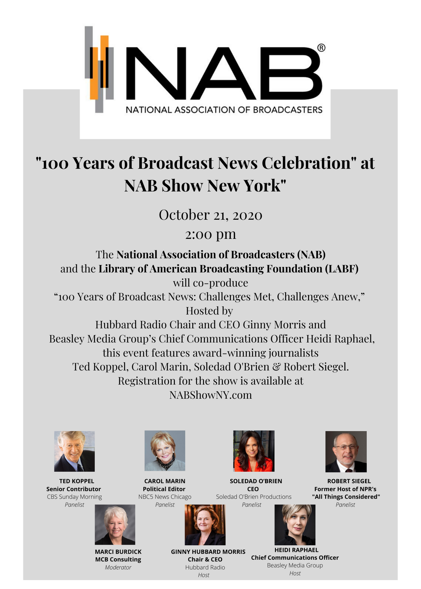 Click here for '100 Years of Broadcast News Celebration' at NAB Show New York